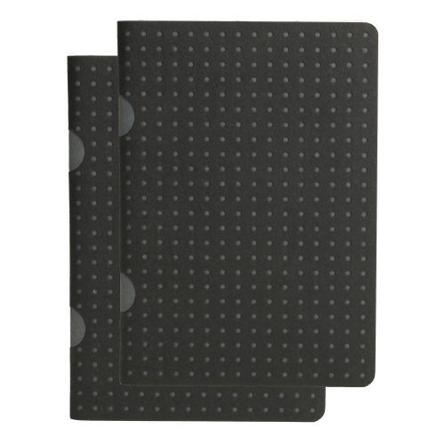 Paper-Oh Cahier Circulo Black on Grey / Black on Grey B7 vonalas