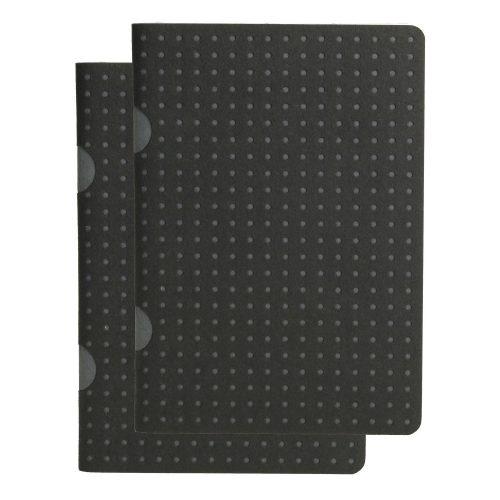 Paper-Oh Cahier Circulo Black on Grey / Black on Grey B7 kockás