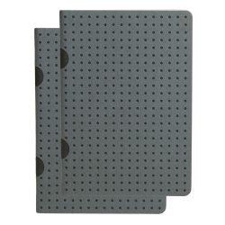 Paper-Oh Cahier Circulo Grey on Black / Grey on Black B7 kockás