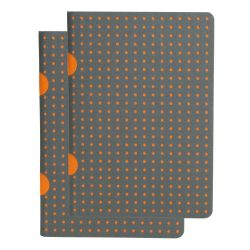 Paper-Oh Cahier Circulo Grey on Orange / Grey on Orange B7 kockás