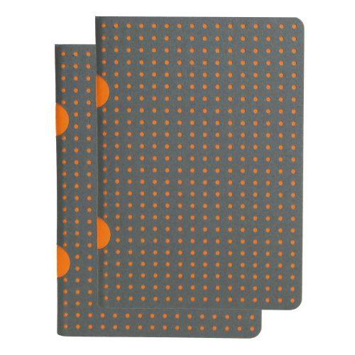 Paper-Oh Cahier Circulo Grey on Orange / Grey on Orange B7 kockás