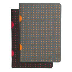Paper-Oh Cahier Circulo Black on Red / Black on Red B7 kockás
