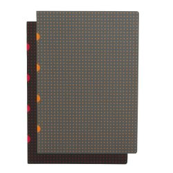 Paper-Oh Cahier Circulo Black on Red / Grey on Orange A4 kockás