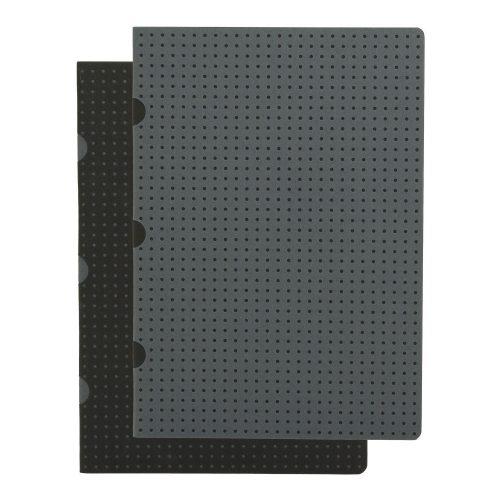 Paper-Oh Cahier Circulo Black on Grey / Grey on Black A5 kockás