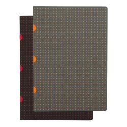 Paper-Oh Cahier Circulo Black on Red / Grey on Orange A5 vonalas