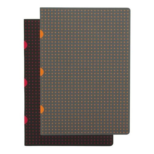 Paper-Oh Cahier Circulo Black on Red / Grey on Orange A5 vonalas