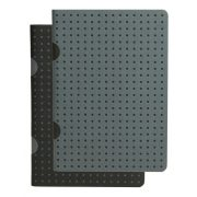 Paper-Oh Cahier Circulo Black on Grey / Grey on Black B7 vonalas