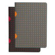 Paper-Oh Cahier Circulo Black on Red / Grey on Orange B7 vonalas