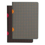 Paper-Oh Cahier Circulo Black on Red / Grey on Orange B7 kockás