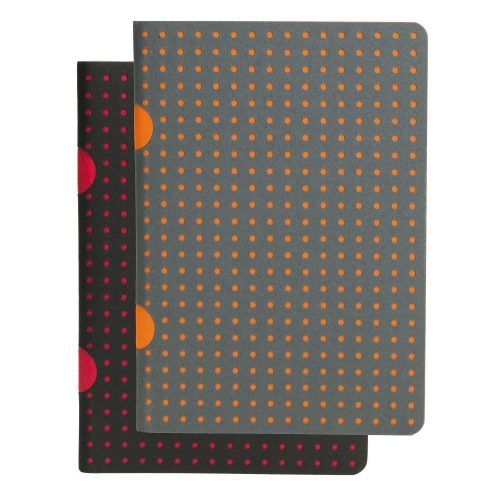 Paper-Oh Cahier Circulo Black on Red / Grey on Orange B7 kockás