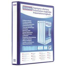 Gyűrűs könyv, panorámás, 4 gyűrű, D alakú, 16 mm, A4, PP, DONAU, kék