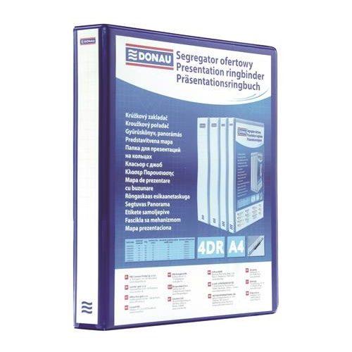 Gyűrűs könyv, panorámás, 4 gyűrű, D alakú, 30 mm, A4, PP, DONAU, kék