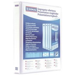Gyűrűs könyv, panorámás, 4 gyűrű, D alakú, 50 mm, A4, PP, DONAU, fehér