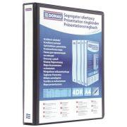Gyűrűs könyv, panorámás, 4 gyűrű, D alakú, 65 mm, A4, PP, DONAU, fekete