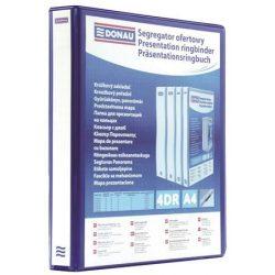 Gyűrűs könyv, panorámás, 4 gyűrű, D alakú, 65 mm, A4, PP, DONAU, kék