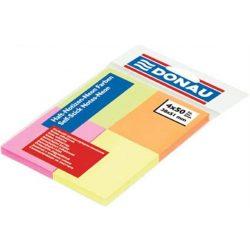 Öntapadó jegyzettömb, 38x51 mm, 4x50 lap, DONAU, vegyes szín (D7578)
