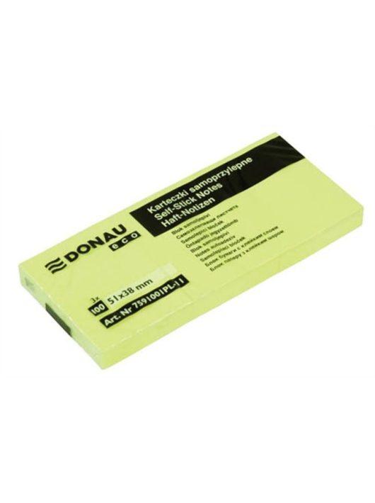 """Öntapadó jegyzettömb, 38x51mm, 3x100 lap, DONAU """"ECO"""", sárga"""