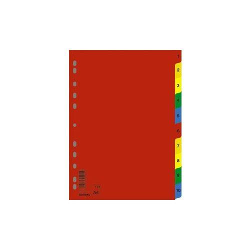 Regiszter, műanyag, A4, 1-10, DONAU, színes (D77120)