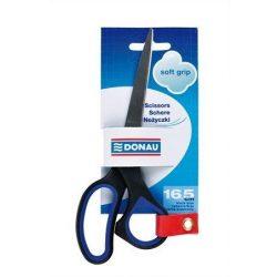 "Olló, irodai, 16 cm, DONAU ""Soft Grip"", fekete-kék (DSG16)"