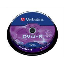 DVD+R lemez, AZO, 4,7GB, 16x, hengeren, VERBATIM (DVDV+16B10)