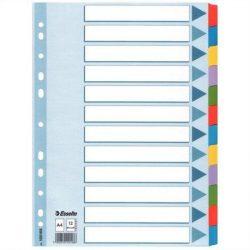 """Regiszter, laminált karton, A4, 12 részes, ESSELTE """"Mylar"""", színes  (E100169)"""