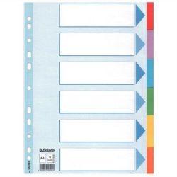 """Regiszter, karton, A4, 6 részes, írható előlappal, ESSELTE """"Standard"""", színes  (E100192)"""