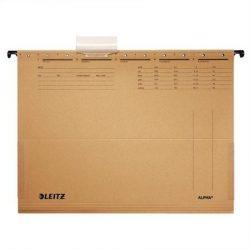 """Függőmappa, karton, A4, oldalt zárt, LEITZ """"Alpha"""", natúr (E19160000), 25db"""