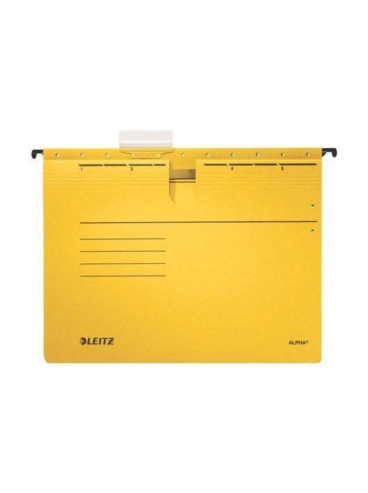 """Függőmappa, gyorsfűzős, karton, A4, LEITZ """"Alpha"""", sárga (E19840015), 25db"""