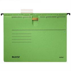 """Függőmappa, gyorsfűzős, karton, A4, LEITZ """"Alpha"""", zöld (E19840055), 25db"""