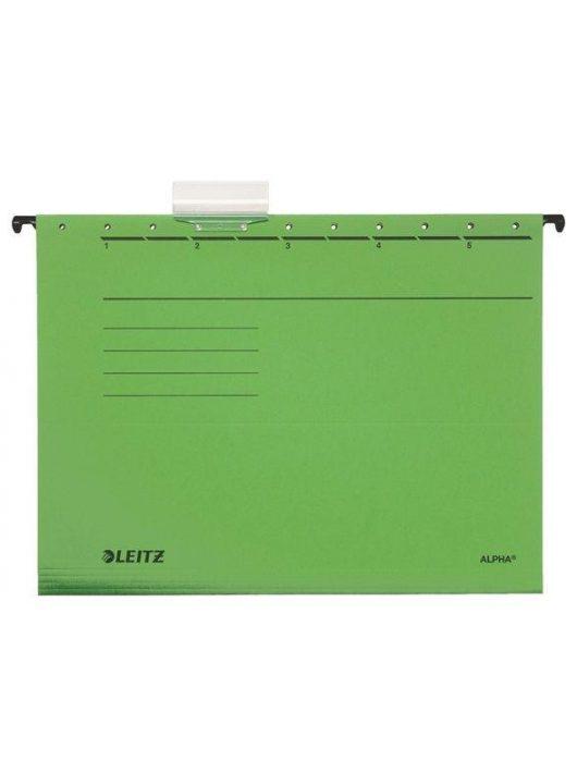 "Függőmappa, karton, A4, LEITZ, ""Alpha Standard"", zöld (E19850055), 25db"