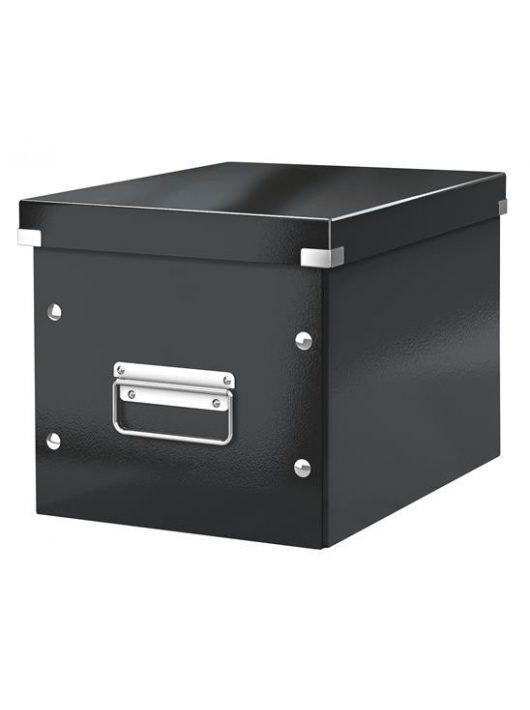 """Tároló doboz, lakkfényű, M méret, LEITZ """"Click&Store"""", fekete"""