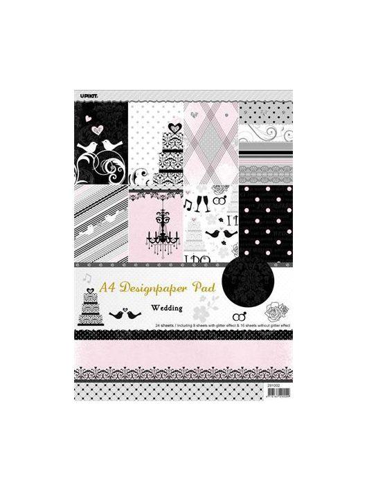 Mintás kartonpapír csomag, A4, esküvői, 24 ív
