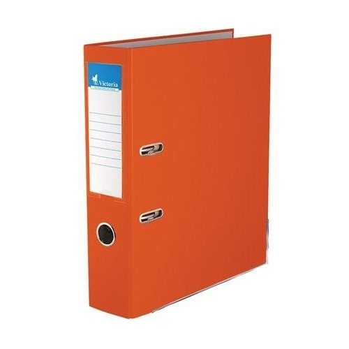 """Iratrendező, 75 mm, A4, PP/karton, élvédő sínnel, VICTORIA, """"Basic"""", narancs (IDI75NA)"""