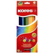 """Színes ceruza készlet, hatszögletű, KORES """"Hexagonal"""", 12 különböző szín (IK100112)"""