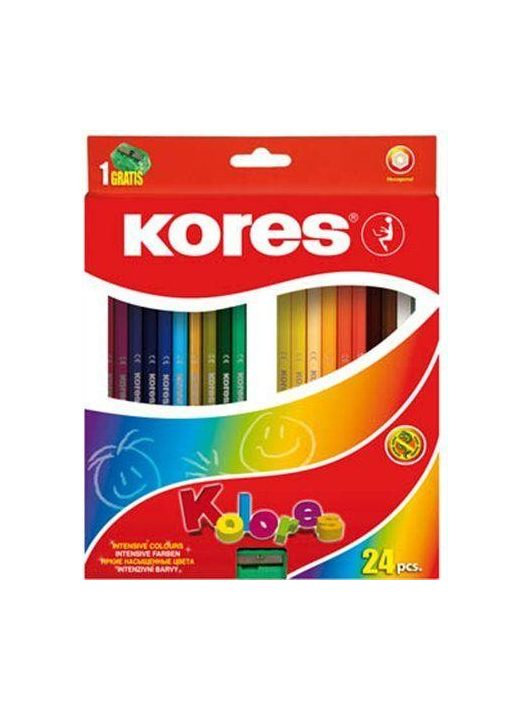 """Színes ceruza készlet, hatszögletű, KORES """"Hexagonal"""", 24 különböző szín"""