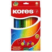 """Színes ceruza készlet, hatszögletű, KORES """"Hexagonal"""", 36 különböző szín (IK100136)"""