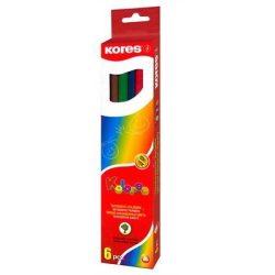 """Színes ceruza készlet, háromszögletű, KORES """"Triangular"""", 6 különböző szín (IK100306)"""