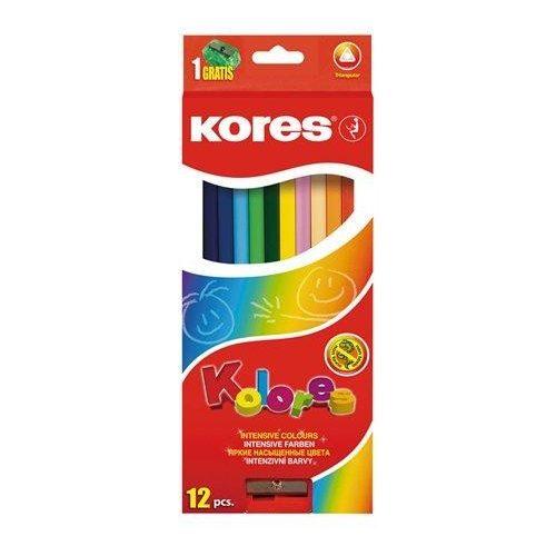 """Színes ceruza készlet, háromszögletű, KORES """"Triangular"""", 12 különböző szín (IK100312)"""