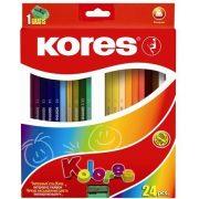 """Színes ceruza készlet, háromszögletű, KORES """"Triangular"""", 24 különböző szín (IK100324)"""