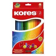 """Színes ceruza készlet, háromszögletű, KORES """"Triangular"""", 36 különböző szín (IK100336)"""