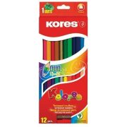 """Színes ceruza készlet, kétvégű, háromszögletű, KORES """"Duo"""", 12 különböző szín (IK100612)"""