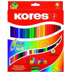 """Színes ceruza készlet, kétvégű, háromszögletű, KORES """"Duo"""", 24 különböző szín (IK100624)"""
