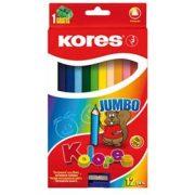 """Színes ceruza készlet, háromszögletű, vastag, KORES """"Jumbo"""", 12 különböző szín (IK100712)"""