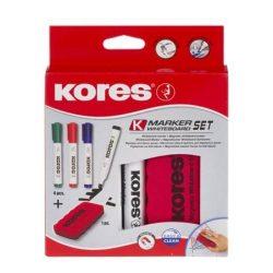 Tábla- és flipchart marker készlet mágneses táblatörlő szivaccsal, 3-5 mm, vágott, KORES, ...
