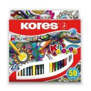 """Színes ceruza készlet, háromszögletű, KORES """"Triangular"""", 50 különböző szín"""