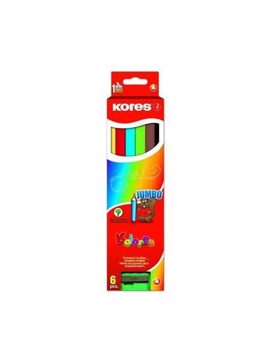 """Színes ceruza készlet, háromszögletű, vastag, KORES """"Jumbo"""", 6 különböző szín (IK93506)"""