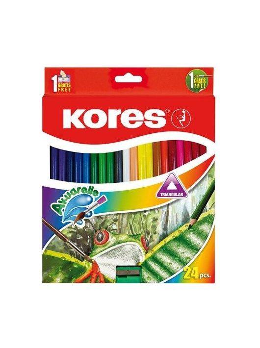 Akvarell ceruza készlet, hegyezővel, ecsettel, KORES, 24 különböző szín (IK93824)