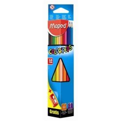 """Színes ceruza készlet, háromszögletű, hegyezővel, MAPED """"Color'Peps"""", 12 különböző szín (IMA183213)"""