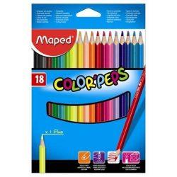 """Színes ceruza készlet, háromszögletű, MAPED """"Color'Peps"""", 18 különböző szín (IMA183218)"""