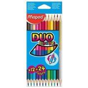 """Színes ceruza készlet, háromszögletű, MAPED """"Color'Peps Duo"""", 12 különböző szín (IMA829600)"""